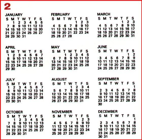 ... Scan/HTM Examples November 2000: 200 Year Calendar Month 2 Format