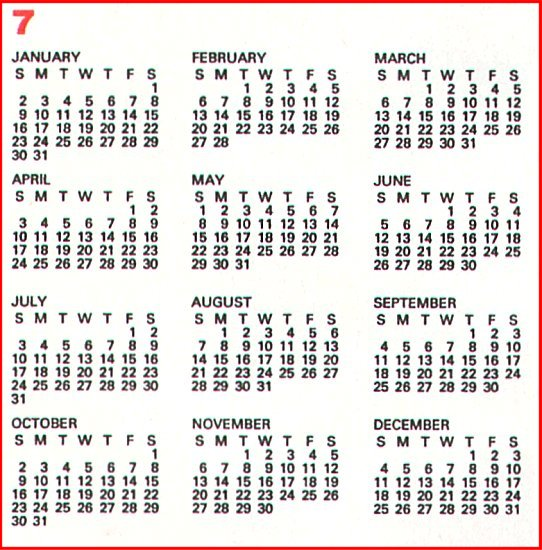 ... Scan/HTM Examples November 2000: 200 Year Calendar Month 7 Format